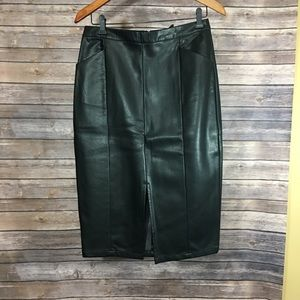 NEW black faux leather pencil skirt